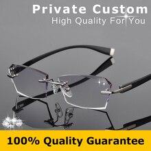 Good Flexibility TR Frame Eyeglasses Men Colored Clear Lens Glasses Strength Rimless Prescription Glasses Myopia Eye Glasses 615