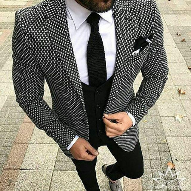 2018 Black White Pattern Tweed Men Suit Slim Fit Floral Wedding Suits for Men Groom Tuxedo 3 Piece Custom Prom Blazer Terno