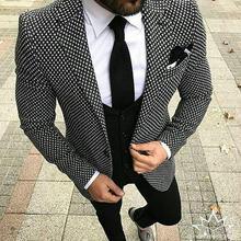 2018 Black White Pattern Tweed Men Suit Slim Fit Floral Wedding Suits for Men Groom Tuxedo