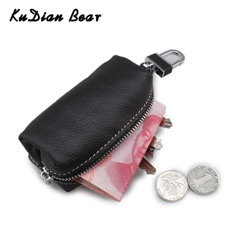 KUDIAN BEAR Zipper Car Key Wallets Casual Unisex Leather Key Organizer Women Purse Portable Key Case Porta Chave BIM016 PM49