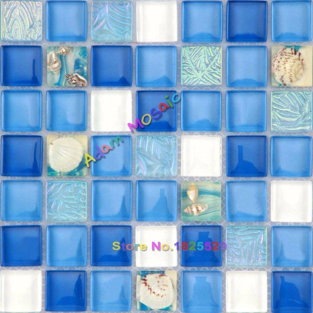 Glass Mosaic Tile Ocean Blue White Sea Shell Tiles bathroom Wall ...
