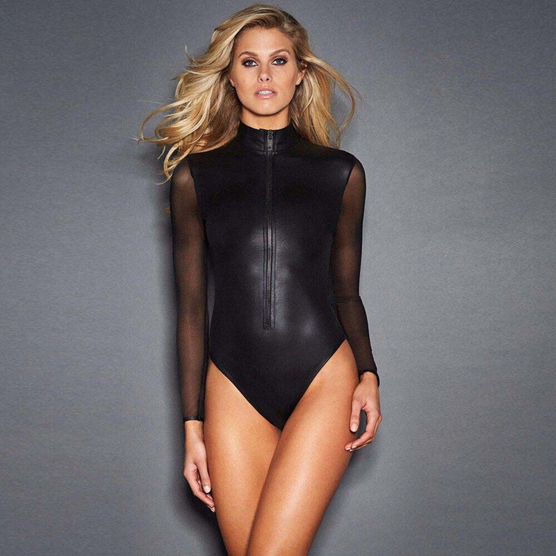 Black Pvc Mesh Long Sleeve Bodysuit Women Plus Size XXXL Leather Zipper Skinny Catsuit Sexy Body Feminino Club Party Bodysuits (2)