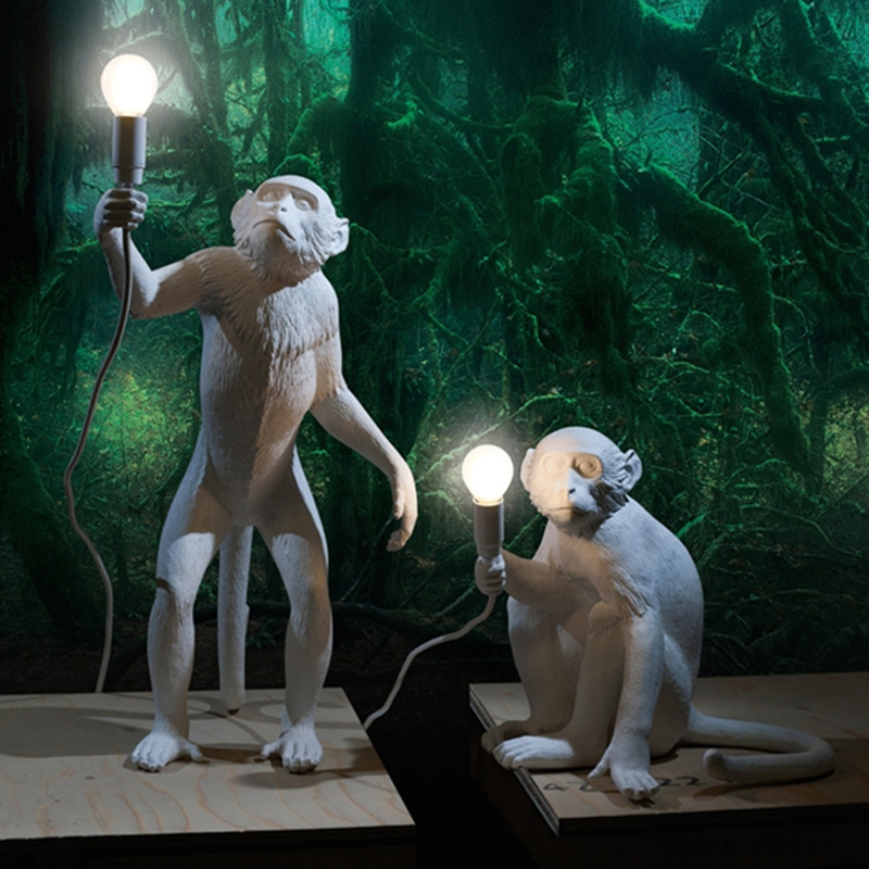 Modern Creative Art Monkey Floor Lamp Loft Style Handmade Resin Monkey Standing Light for Exhibition hall