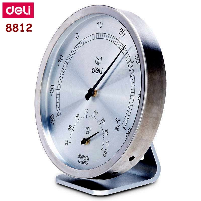 Deli 8812 Stainless Machanical Thermo-Hygrometer Mechanical Induction Element No Need Battery Temperature And Humidity Meter