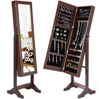 Giantex Lockable Mirrored Jewelry Cabinet Armoire Organizer Storage with Stand Brown Wooden Necklace Storage Box HW54416