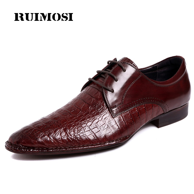 RUIMOSI Pointed Toe Crocodile Handmade Man Formal Dress Wedding Shoes Genuine Leather Male Oxfords Men's Derby Bridal Flats ME74