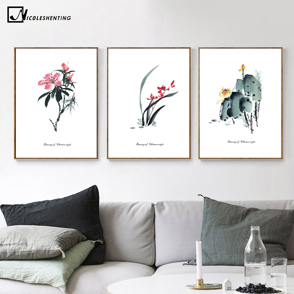 Compare prices on chinese lotus painting online shoppingbuy low chinese rose lotus flower plant poster minimalist art canvas chinese ink painting wall picture print modern dhlflorist Choice Image