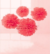 9pcs Coral Color Mixed Sizes(25cm/20cm/15cm)Tissue Paper Pom Poms Flower Balls Hanging Birthday Wedding Decoration