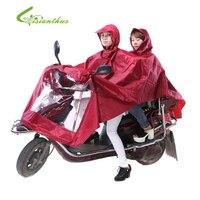 뜨거운 판매 자전거 자카드 오토바이 더블 사람 비옷 판초 성인 후드 비옷 야외 비옷 방수 레인 코트