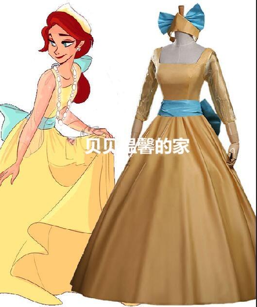 New Style Anastasia Princess dress Yellow Dress Anastasia Costume Anastasia cosplay party dress