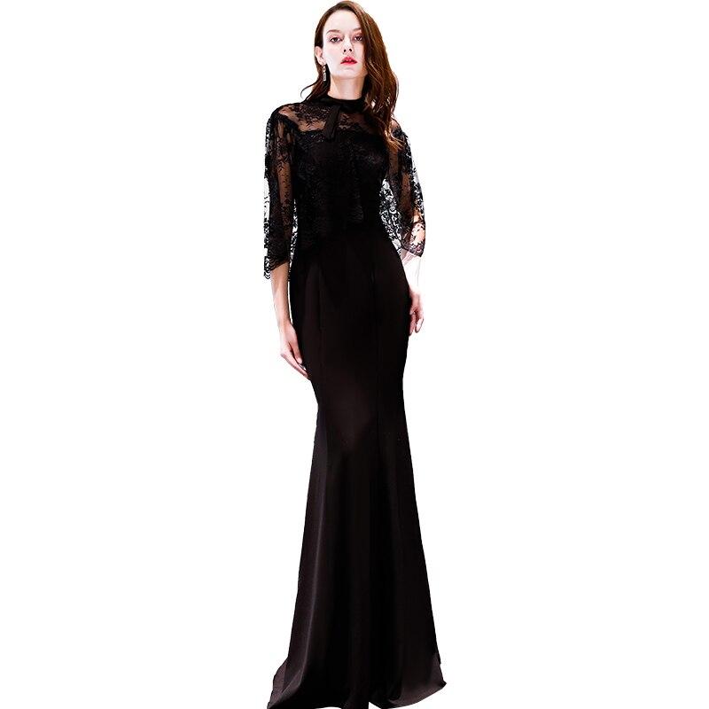 Beauty Emily Black   Evening     Dress   2019 Long Lace Mermaid Formal Party Prom   Dress   Floor-length Dinner Gowns robe de soiree
