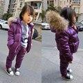 Macacão de inverno Para Baixo Casacos Para As Meninas Meninos Crianças Casaco Snowsuit Crianças Roupas Outerwear Jaqueta de Roupas De Peles Com Capuz Macacão