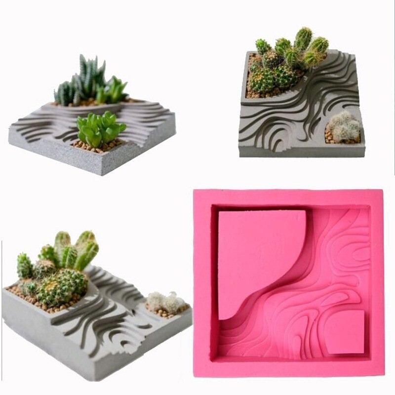 Succulent Flower Plants Planter Mould Terraced Field Pattern Shape Concrete Clay Craft Graden Decor Cement Silicone Molds