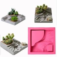 즙이 많은 꽃 식물 화분 금형 계단식 필드 패턴 모양 콘크리트 점토 공예 graden 장식 시멘트 실리콘 금형