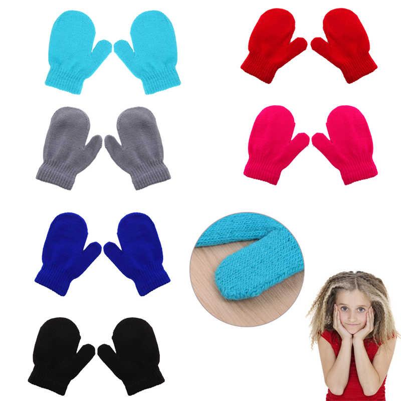 תינוק סריגה כפפות חורף חם רך ילדים בני בנות סוכריות צבעים כפפות