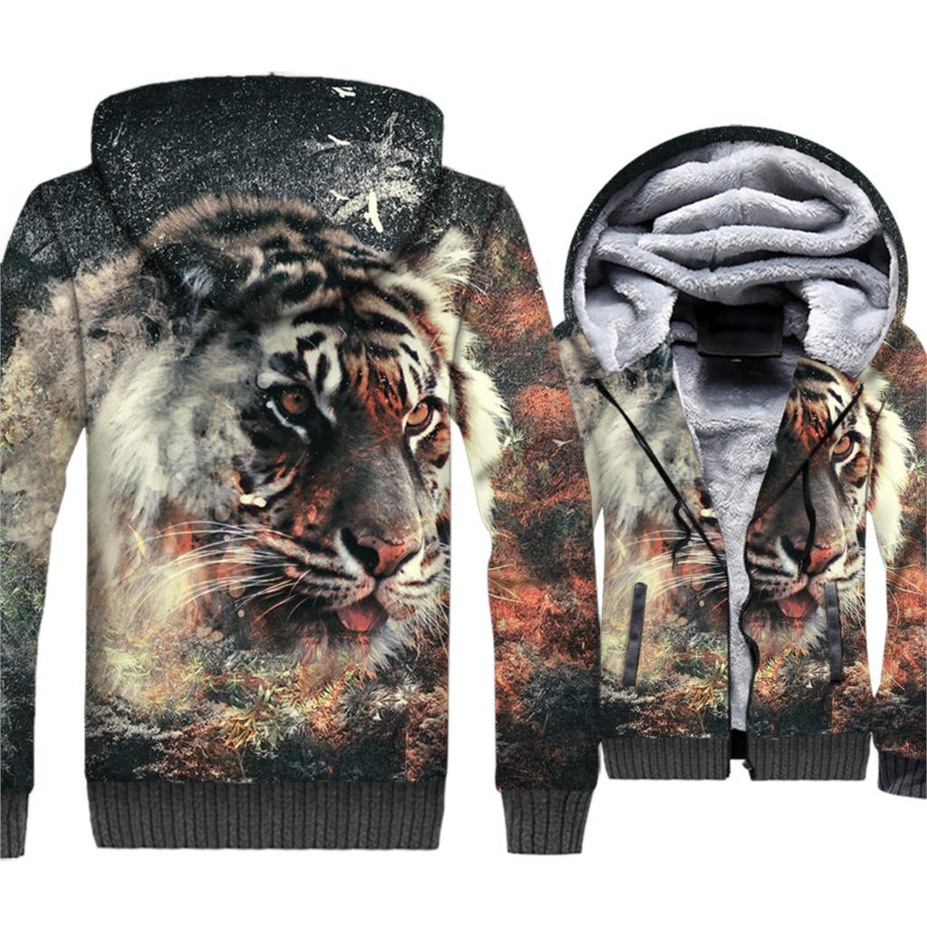 Animal Tiger Jacket Men 3D Print Harajuku Hoodie Cool Hooded Sweatshirt Winter Thick Fleece Warm Zip up Coat Hip Hop Streetwear