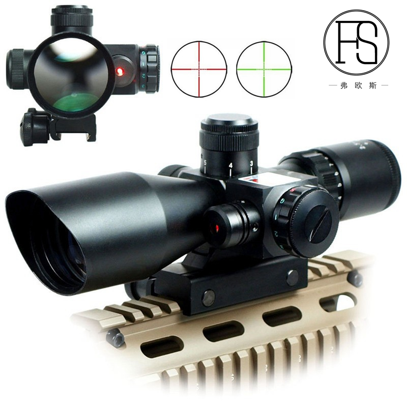 Tactical 2.5-10x40 Riflescope Red Green Dual illuminated Mil-dot Rifle Scope with Red Laser Sight Hunting Airsoft 11 /20mm Rail 4x 30mm red green mil dot reticle rifle scope with gun mount black 3 x ag13 1 x cr2032