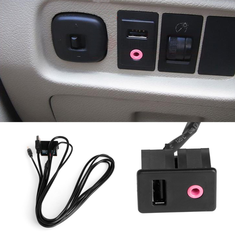Car 3.5mm USB AUX Headphone Male Jack Flush Mount Mounting Adapter Panel Input Drop shipping