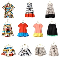 New Summer Wolf Rita Graffiti Print Dress Kids Short Sleeve Princess Dresses For Toddler Girl Bobo
