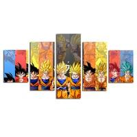 Dbz Goku Evolution 2 Canvas Painting Wall Art 5 Pieces HD Prints Home Decor Picture Panels