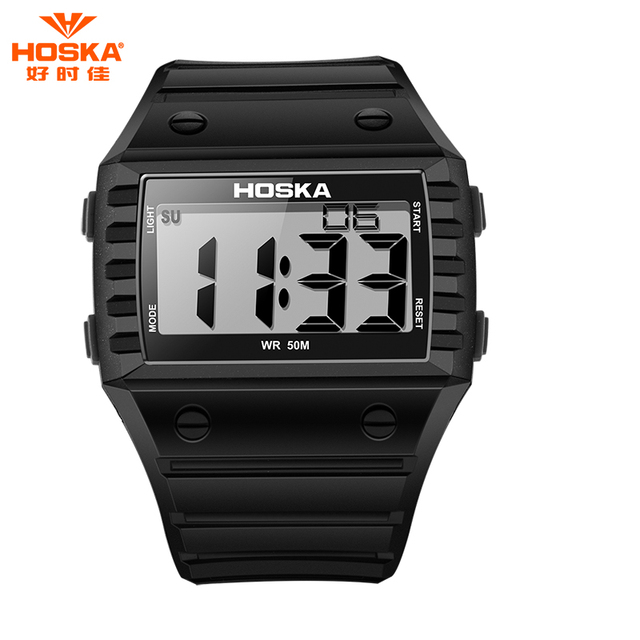 HOSKA Brand Часы Ультра Тонкий Прямоугольник СВЕТОДИОДНОЙ Подсветкой Дисплей Мягкой Резины Пластиковой Лентой Водонепроницаемая Цифровая Часы Мальчик H033