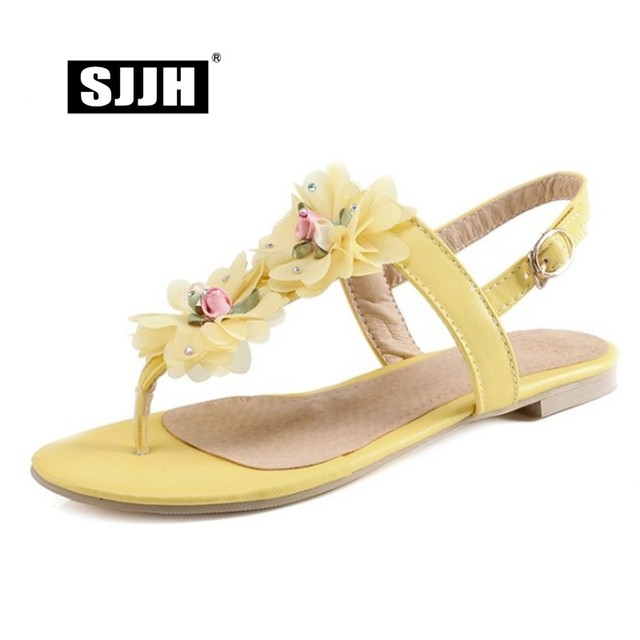24b2ba219 SJJH Woman Flat Thong Sandals with Back Strap Flowers Buckle Comfort  Bohemia Footwear Fashion Casual Sweet Shoes Large Size S707