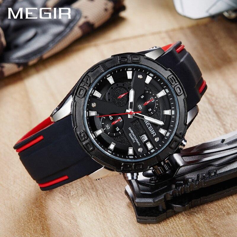 Chronograf Megir zegarek sportowy mężczyzn Relogio Masculino Top marka moda silikonowy zegarek kwarcowy armii wojskowe na rękę zegarki zegar mężczyźni w Zegarki kwarcowe od Zegarki na  Grupa 3