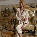 XIFENNI Marca Mulheres Primavera Bordado Com Decote Em V Conjuntos de Pijama Pijama De Cetim De Seda Imitação de Seda Sleepwear Pijama Feminino 1212