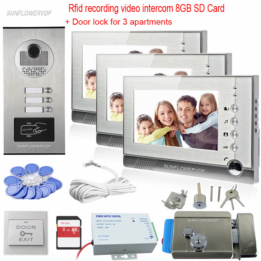 Video Recording HD Video Doorphone Rfid Doorbell With Camera 3 Buttons Free 8GB SD Card Monitor Door Video With Electronic Lock 7 inch video doorbell tft lcd hd screen wired video doorphone for villa one monitor with one metal outdoor unit rfid card panel