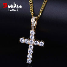 Men Women AAA Zircon Cross Pendant Gold Silver Copper Material Iced CZ Cross Pendants Necklace Chain Fashion Hip Hop Jewelry(China)