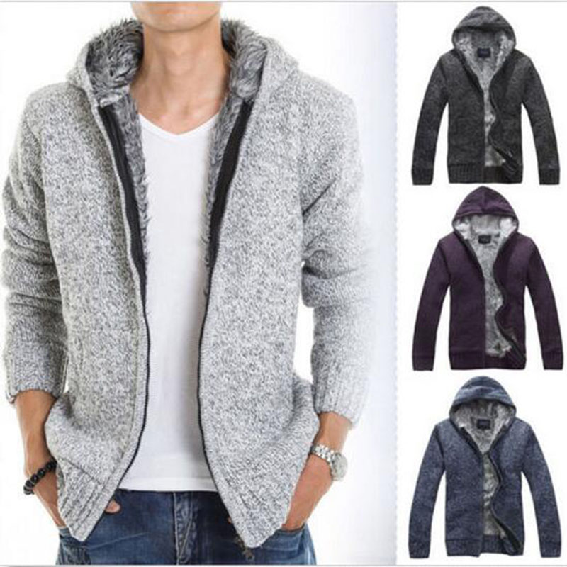 Hot warm Winter Men's Cardigan Sweater Fur Wool Lining Hooded ...