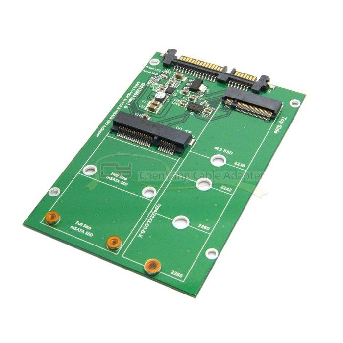 2 in 1 Combo Mini PCI- E 2 Lane M.2 NGFF & mSATA SSD to SATA 3.0 III Adapter Converter PCBA