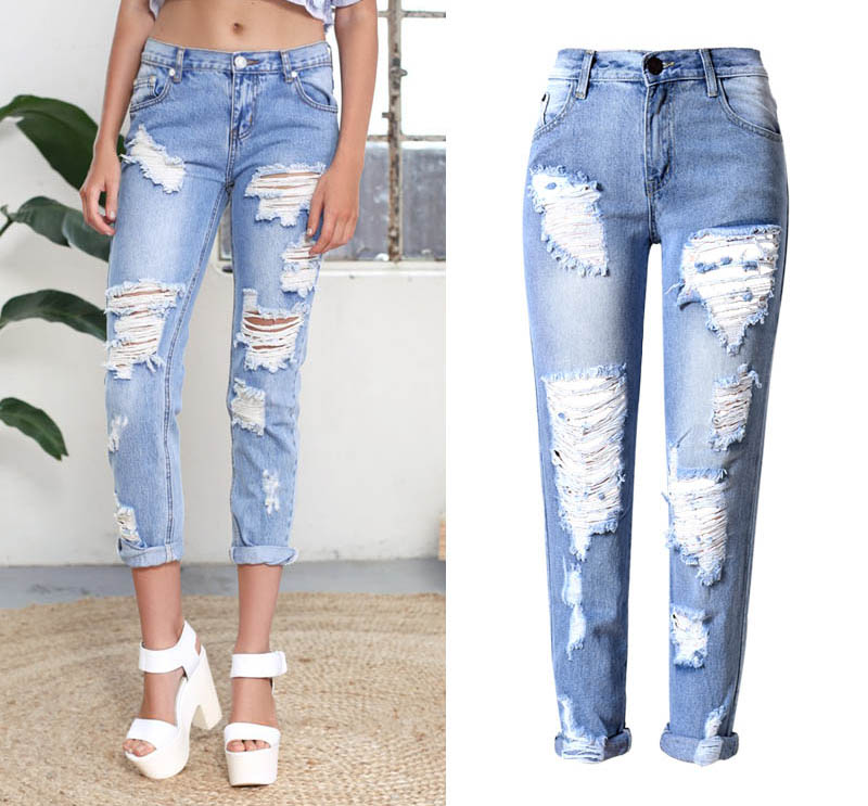 2016 Big Hole Jeans For Women With Ripped Jeans Light Blue
