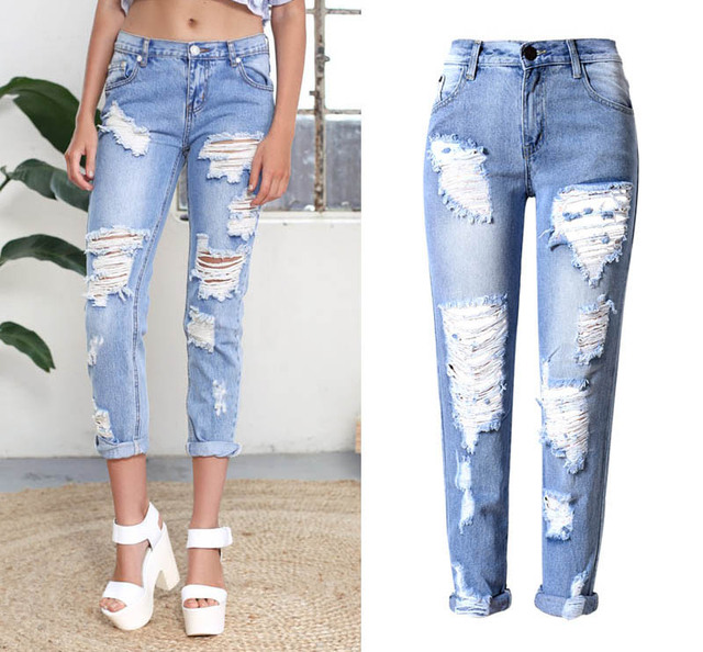 Luxury  High Rise Ripped Jeans Light Denim Just Got A Whole Lot Simpler