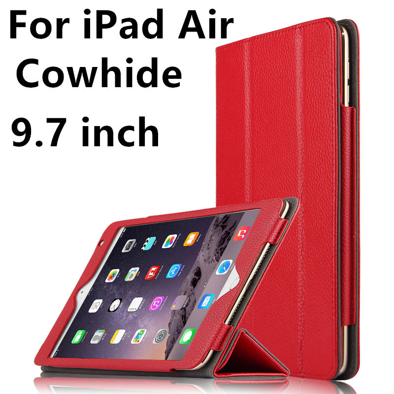 Case Cowhide For Apple iPad air Protective Smart cover Genuine Leather Tablet For iPad air 9.7inch iPad5 Protector Sleeve Covers
