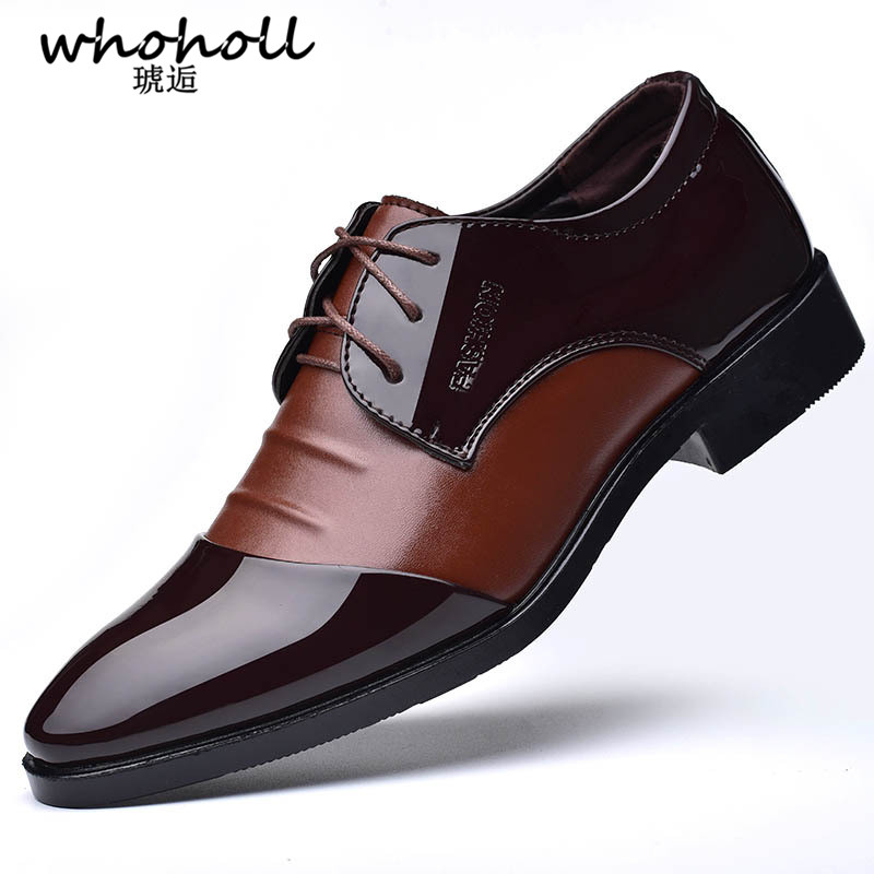 WHOHOLL Men Leather Shoes Oxford Genuine Leather Men's Dress Shoes Business Flat Shoes Breathable Men's Banquet Wedding Shoes 48 snowkimi2018 spring girl butterfly leather shoes leather breathable children flat heels dress shoes
