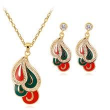 Enamel Red Green Jewelry Set Water Drop Necklace & Earrings Costume Wedding Jewelry for Women Copper Alloy стоимость