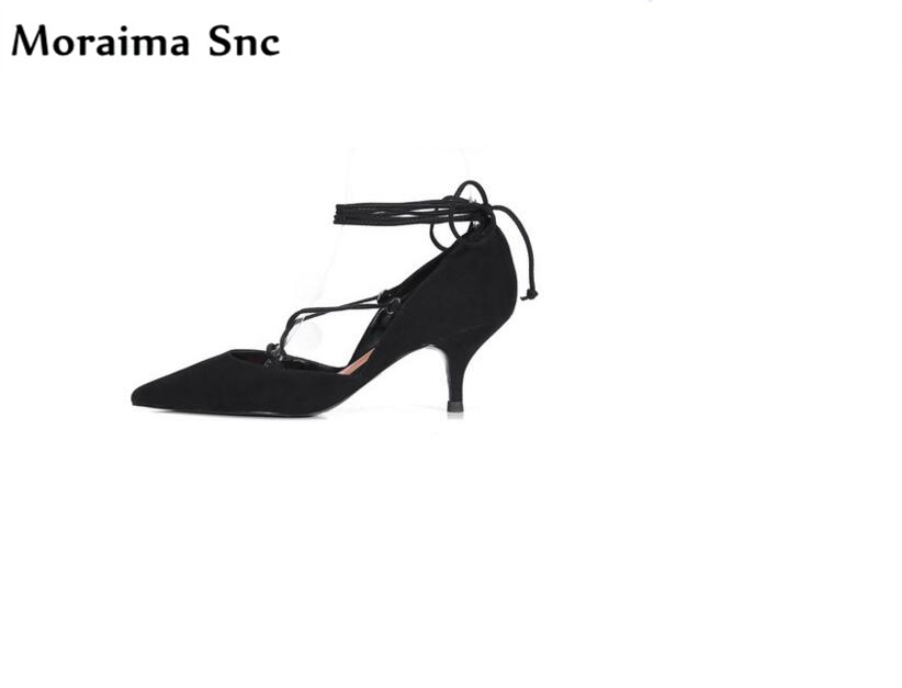 цены Moraima Snc hot sales chic women sandals pointed toe vintage suede sexy thin high heels narrow band shallow Ankle strap sandals