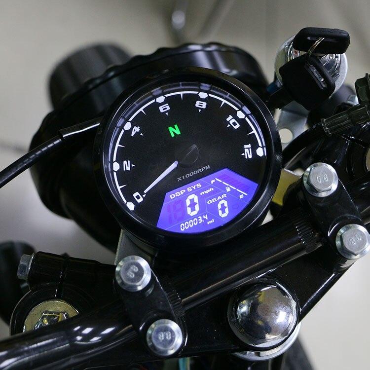 12000 RPM kmh/mph Medidor de Sinal LCD Velocímetro Tacômetro Odômetro Da Motocicleta Universal indicador de Marcha Cruiser Chopper Cafe Racer