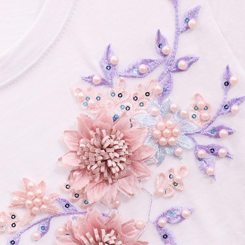 White À bleu Deux Fleur Denim Ensembles Vintage Pièces Courtes Longs 2019 shirt Nouveau Broderie Costume Jeans Femmes multi T Printemps Manches Pantalon Dames De ww1qFgx