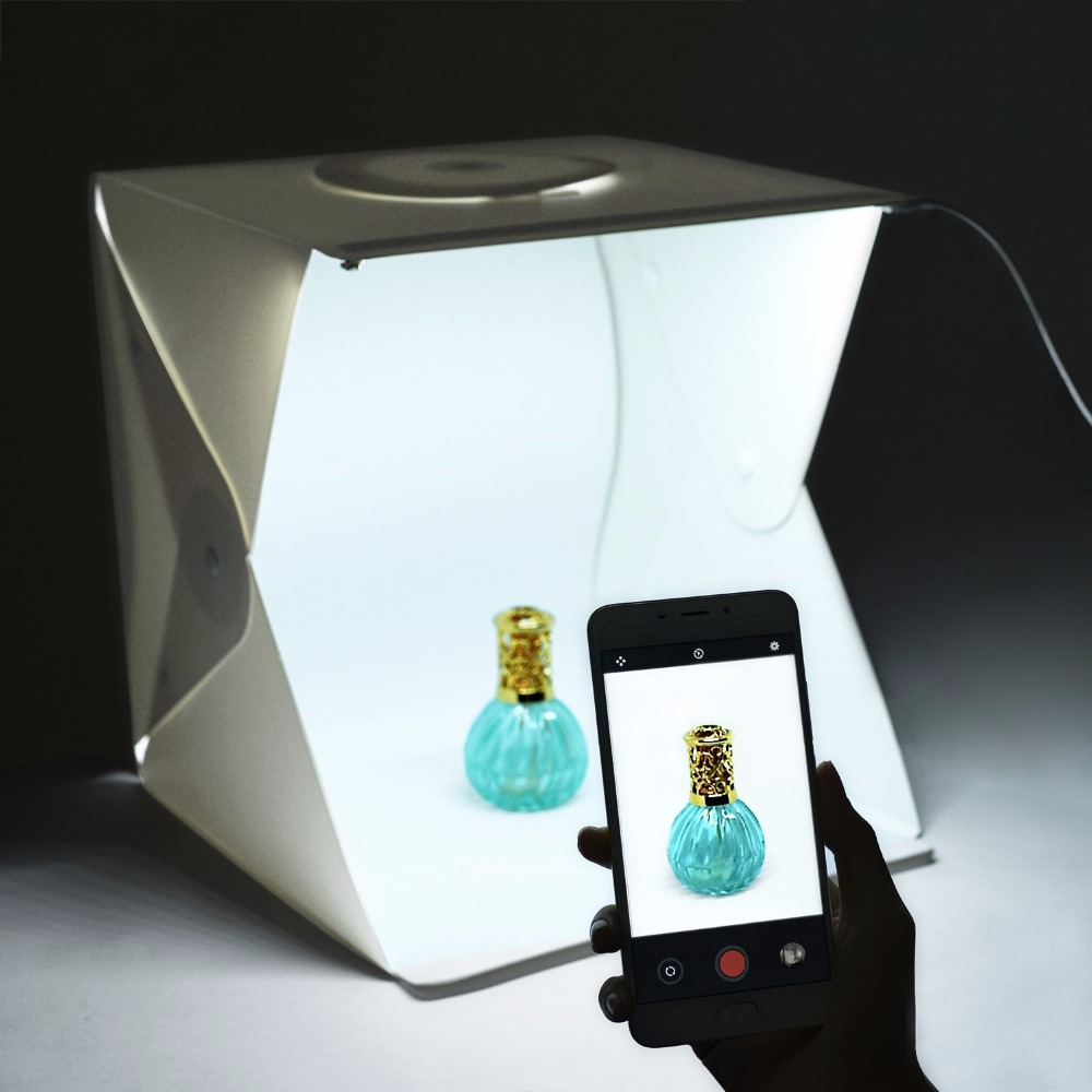 Wrumava 40cm Mini Folding LED Lightbox Light Tent Portable Photography Studio Softbox Light box for iPhone