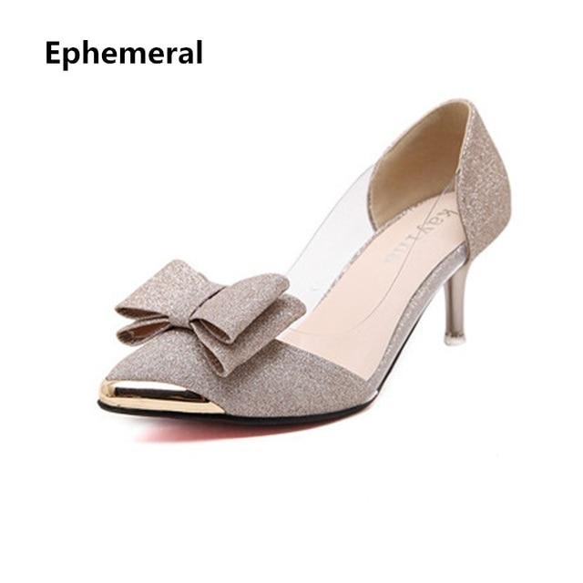 d2e07e76f Senhora tamanho grande elegante 40 Limpar Bling dedo apontado finos sapatos  de salto alto mulheres Primavera