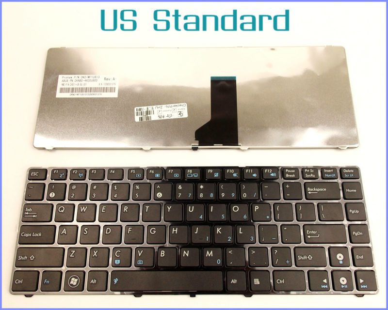 US English Version Keyboard for ASUS X42D X42F X42J X42N X44 X44C X44HR X44L X44LY X44H X44HY Laptop WITH BLACK FRAME