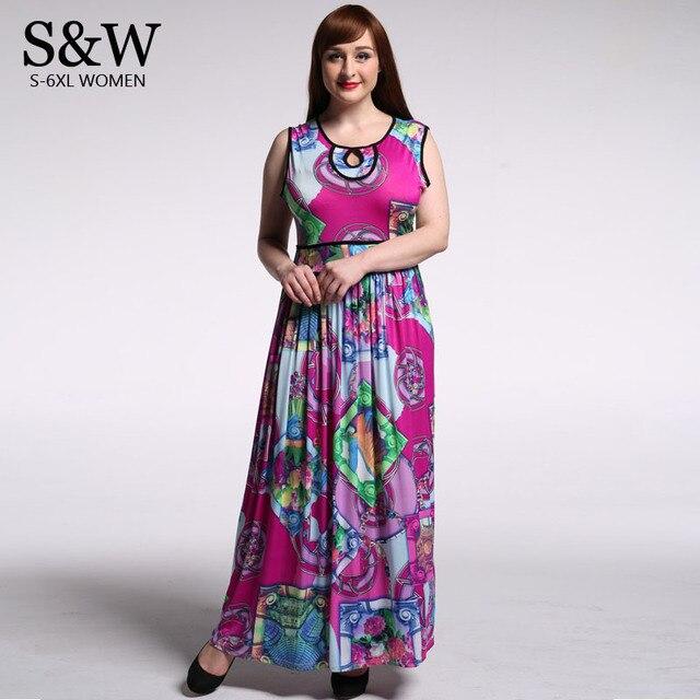 Plus Size 5XL 6XL 7XL Women Summer Maxi Dress Bohemian Floral Dresses 6XL  Long Dress Sexy Beach Dresses robe longue femme 41ce3fede880