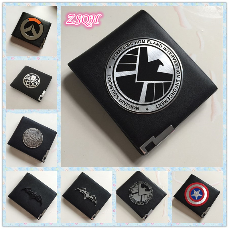 ZSQH Metal Badge Resident Evil Stars Shield S.H.I.E.L.D. Hail Hydra Leather Case Holder Wallet Overwatch police Stars red