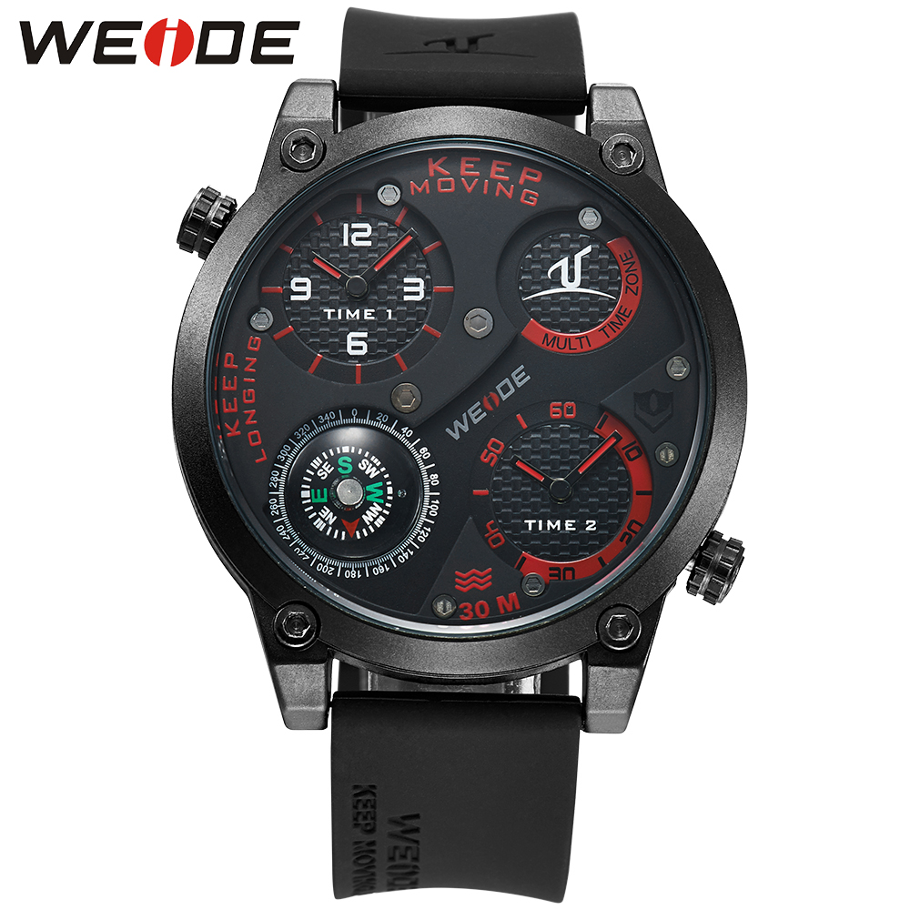 WEIDE Original Brand Men Sports Watches With Compass Analog Silicone Strap Dual Time Zones Water Resistance Army Military Watch waterproof weide brand military watch big round dial analog two time zones display leather strap men army sports waches relogio