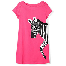 Girls Dress Zebra Print Summer Short Sleeve Princess Dress Kids Dresses Star Pattern Baby Dress b s123 new fashion spring girls elegant dresses summer short sleeve princess dress 5 14t teenager kids solid color lace dress