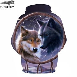 TUNSECHY Wolf Printed Hoodies Men 3D Hoodies Brand Sweatshirts Fashion Tracksuits Wholesale and retail Free transportation 4