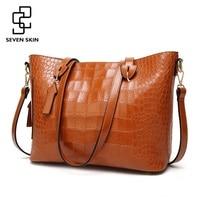 SEVEN SKIN High Quality Leather Shoulder Bags Women Fashion Ornaments Handbags Female Crocodile Pattern Messenger Bag