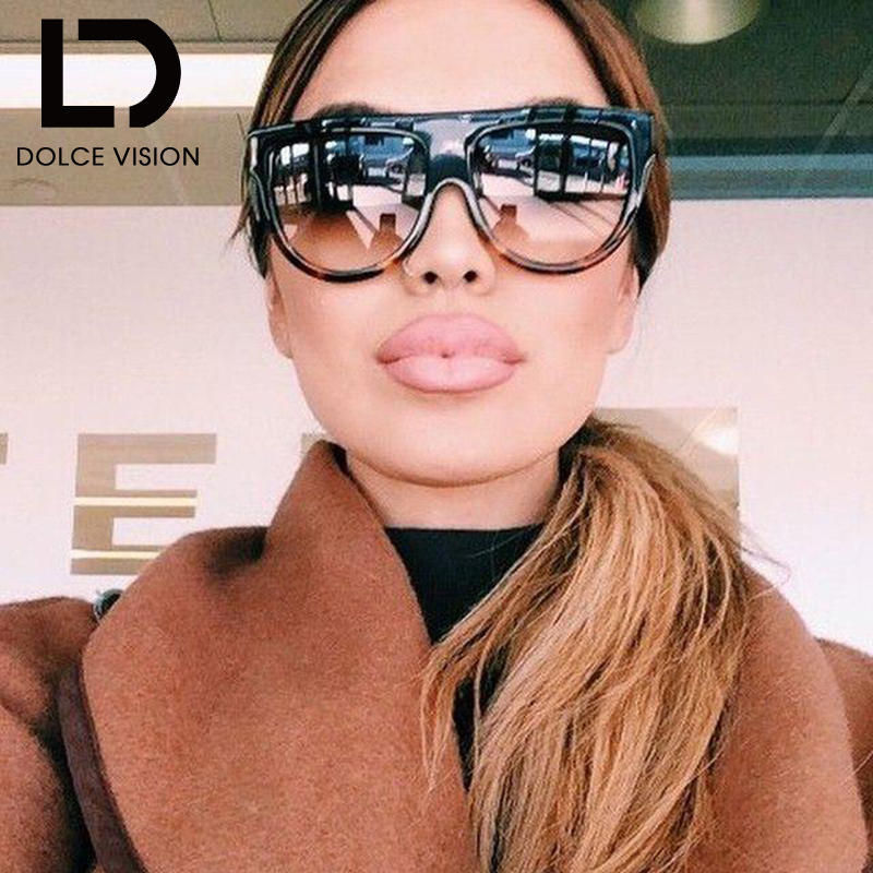 DOLCE VISION Flat Top Sun Glasses For Women Design Oversize Vintage Sunglasses Women Gradient Brand Semicircle Oculos Female New